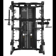 Binom Steel Force B13 Multigym, Polia Dupla (90,5 kg) Power Rack, Multipower, Leg Press e acessórios - 100% Profissional